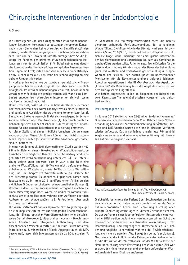 Fachbeitrag von Dr. Andreas Simka: Chirurgische Interventionen in der Endodontologie, Wehrmedizin und Wehrpharmazie 2/2020 | 2020